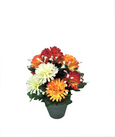 Image 1 - Kalyste - Chrysanthèmes artificiels rouge, orange Ø25 x H15 cm