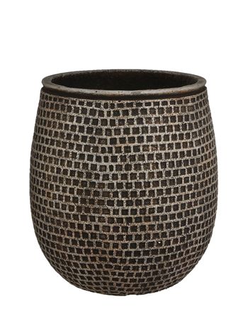 Image 1 - Mica Decorations - Pot Structuro marron foncé - Ø24,5 x H.28 cm