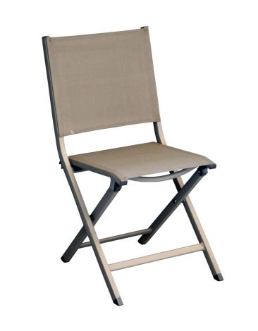 Image 1 - Pro Loisirs - Chaise Thema taupe - L.55,5 x l.45 x H.89 cm