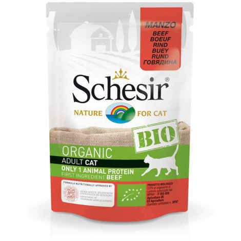 Image 1 - Schesir - Aliment bio pour chats - Boeuf 85g