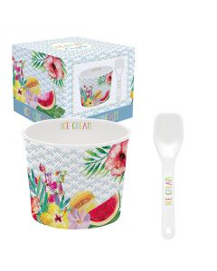 Coffret 1 coupelle à glace en porcelaine - Tropical Bleu