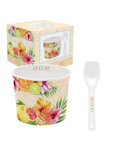 Coffret 1 coupelle à glace en porcelaine - Tropical Orange