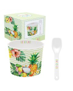 Coffret 1 coupelle à glace en porcelaine - Tropical Vert