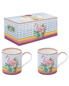 Coffret 2 mugs en porcelaine - Flamand rose
