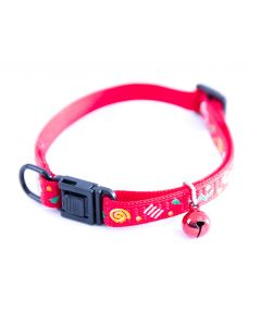 Collier Carnaval pour chat en nylon rouge - 10 mm 25/35 cm