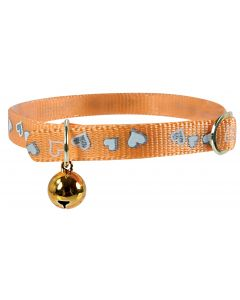 Collier Réflectif Coeur Chat 30cm Orange