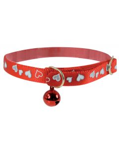 Collier Réflectif Coeur Chat 30cm Rouge