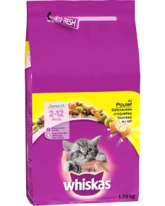 Croquettes Whiskas au poulet pour chat junior 1,75kg