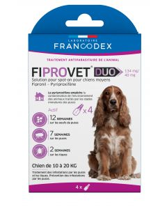 Fiprovet duo 134 mg/40 mg chien 10 à 20 kg 4 pipettes