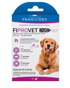 Fiprovet duo 268 mg/80 mg chien 20 à 40 kg 4 pipettes