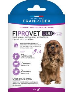 Fiprovet duo 67 mg/20 mg chien 2 à 10 kg 4 pipettes