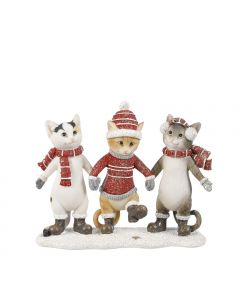 House of Seasons - Chats festifs rouge L.15,5 x l.5,5 x H.12,5 cm