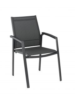 Kettler - Fauteuil empilable Lille anthracite L.61xl.57xH.90 cm