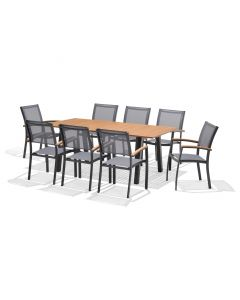L'Estivalier - Table Woody fixe anthracite L195 x l100 x H75 cm