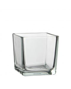 Lotty vase carre verre transparent - L.14 x l.14 x H.14cm