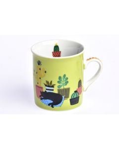 Mini mug en porcelaine - Chat cactus
