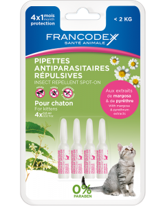 Pipettes Antiparasitaires Répulsives Chaton 4x0,6ml