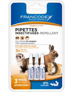 Pipettes insectifuges pour Lapin, Furet et Cobaye