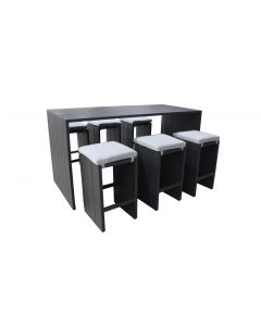 Salon bar 6 personnes anthracite