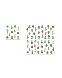 Serviette de table en papier chat cactus