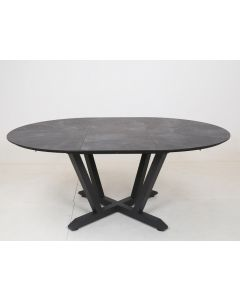 Table ronde extensible anthracite L.135/185 x l.135 x H.75 cm
