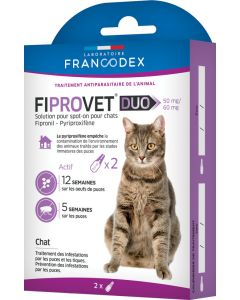 Traitement antiparasitaire Fiprovet Duo 50 mg/60 mg pour chats